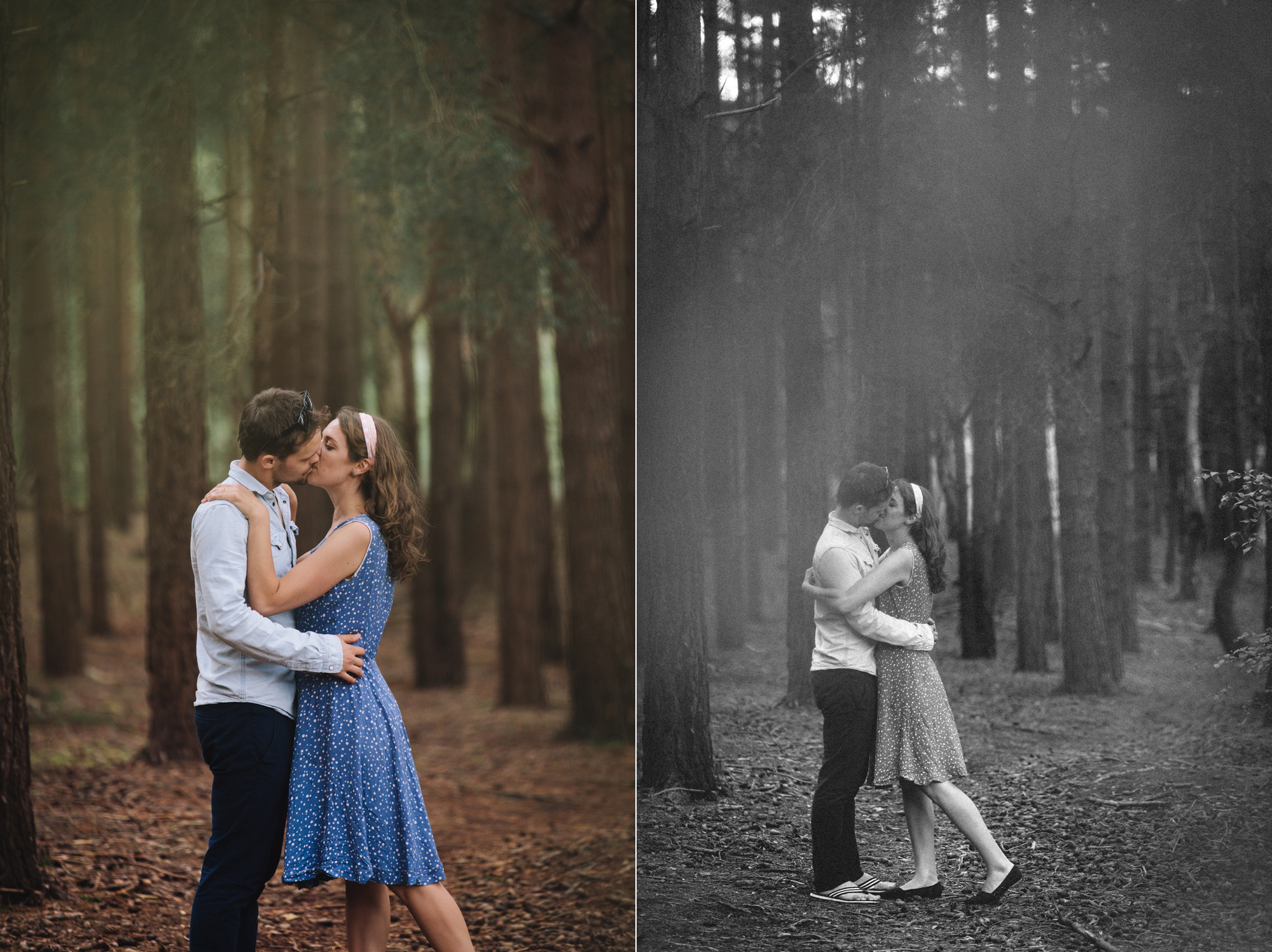 Hermione McCosh Photography engagement photo in wood. dreamy creative portraits