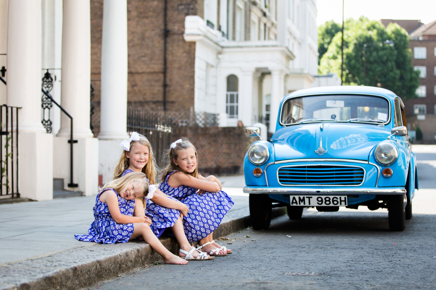 childs portrait, Notting Hill, blue car London photo portrait