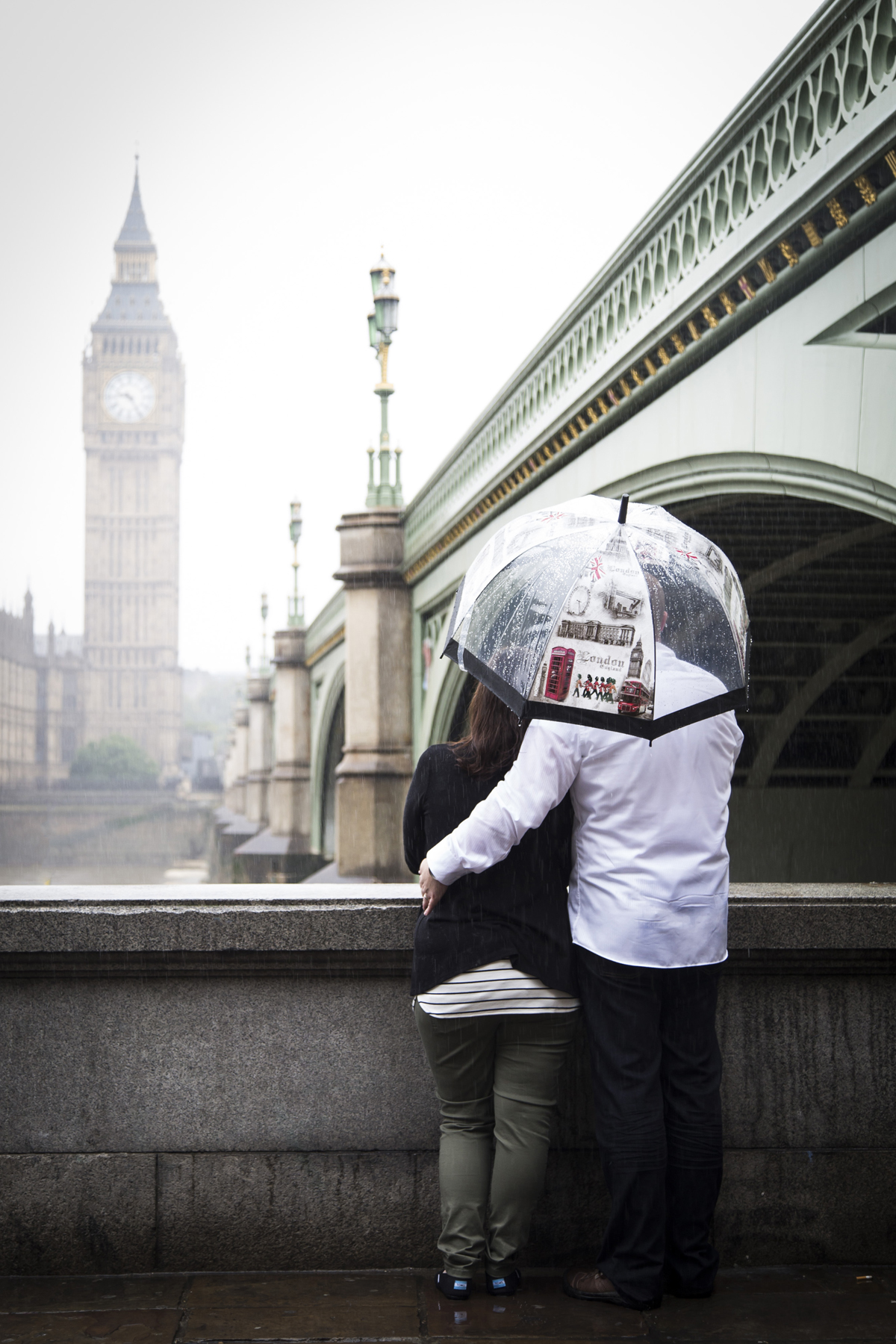 Couple portrait, Big Ben, rain, umbrella, Westminster, London photo portrait