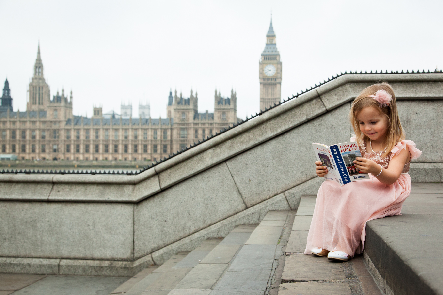 Childs portrait, Big Ben, London photo portrait