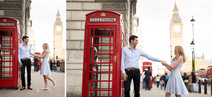 Hermione McCosh Photography London Engagement portrait session Westminster Red phone box