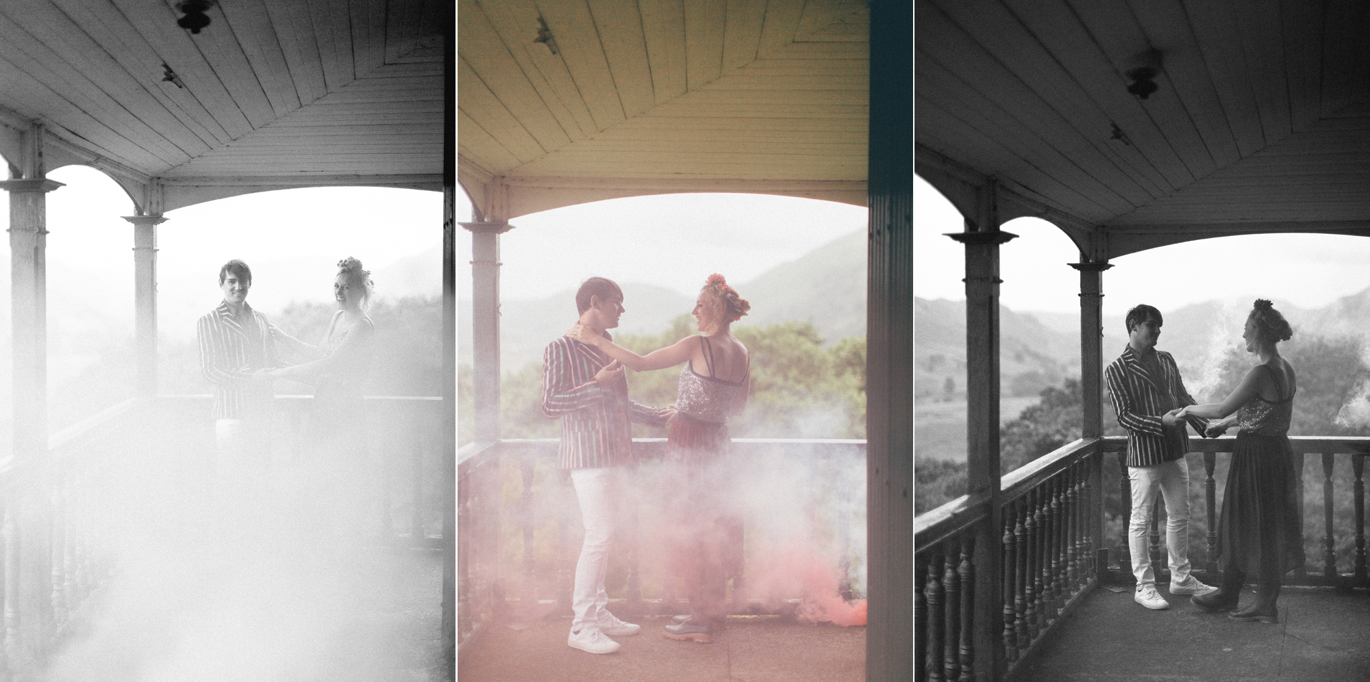 smoke bomb wedding portrait - Hermione McCosh Photography